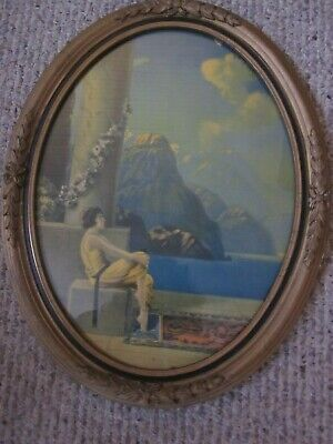 Vintage Oval Print Art Nouveau Lady Sitting with Marble Pillar Oval Frame