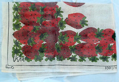 "Vtg LARGE Rug Hooking Canvas by Vera Neumann RED STRAWBERRIES 60"" x 36"" HTF"