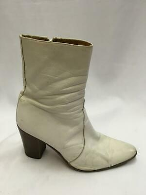 Vintage White Leather Cowboy boots Ankle  Size 10.5 / 43.5 Western Sandy Shoes