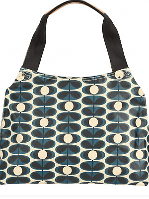 Fab Orla Kiely Oval Flower in Indigo - Classic Zip Shoulder Bag