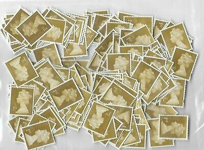 250+ x 1st First Class Security Stamps ALL GOLD Unfranked No Gum  OFF PAPER