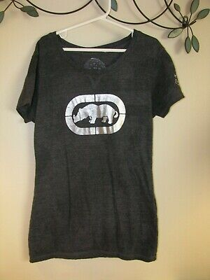 Ecko unltd Charcoal Gray Metallic Logo Rhino T-Shirt Youth Size Small NICE!