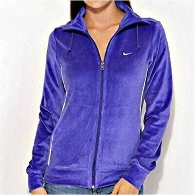 Vintage Nike Womens Girls Hoodie Jacket Velvet Zip Up