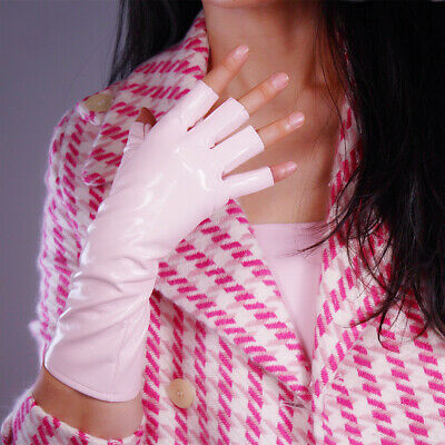 HALF FINGER LATEX Long Gloves Faux Leather Fingerless Light Pink Cos 28cm 11""