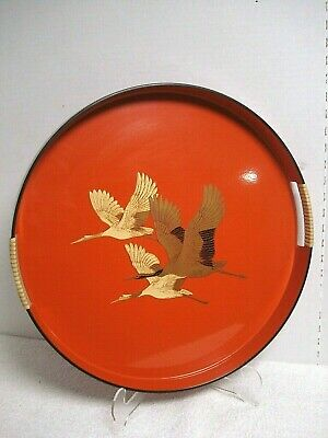 Vtg orange Lacquer round SERVING TRAY w/ Handles Japanese Oriental Asian geese