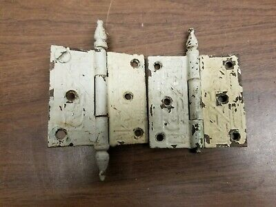 TWO Vintage Eastlake style door hinges 3.5 x 3.5 - White paint - Broken Fineal