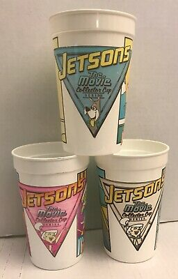 3 Jetsons The Movie Collector Plastic Drink Promo Cup Wendys Vintage 1990 Lot