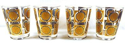 LOT (4) PASINSKI Low Ball Cocktail Bar Glasses BARWARE 22K Gold SIGNED MCM