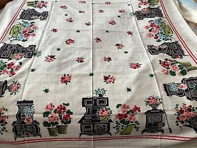 """VTG 70"""" X 52"""" Simtex Tablecloth Country Potted Flowers Stove-Memories-label-NOS"""