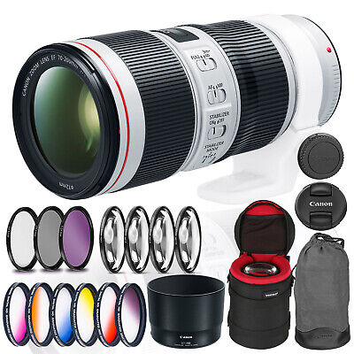 Canon EF 70-200mm f/4L IS II USM Lens Bundle +Cleaning Kit, Filter Kits, and Pad