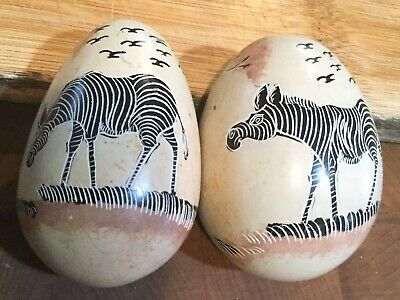 Vintage Hand Carved Stone African Eggs