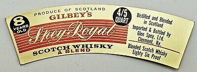 VTG Gilbey's Spey Royal Scotch Whiskey Blend Label. Unused. Liquor. Collectables