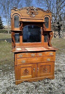 Antique Solid Tiger Oak Server Buffet Sideboard with 5 Mirrors 1900s Back Bar