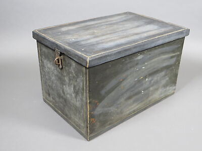 """Antique Large 20"""" Wooden Storage Box Lidded w/Hasp File Document Shabby Chic"""