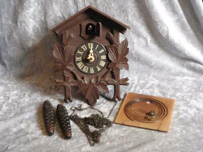 Vintage German Cuckoo Clock With Cast Iron Pine Cone Weights - Spares Repair