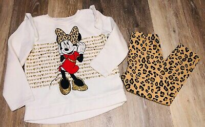 Toddler Girls Disney Jumping Beans Minnie Mouse 2 Piece Outfit Size 5T