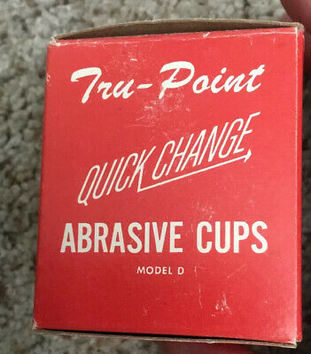 Vintage Tru Point Quick Change Abrasive Cups For Model D With Box 3 Cups! Nos!