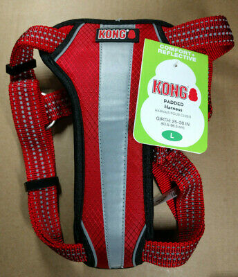 Kong Comfort + Reflective Padded Dog Harness L Large Red - NEW
