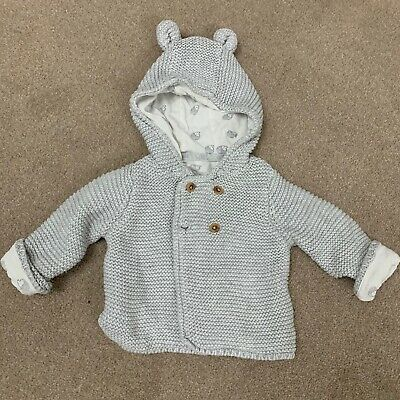 M&S Grey Unisex Baby Knitted Cardigan With Hedgehog Bear Ears 0-3