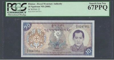 "Bhutan 10 Ngultrum 2000 Pick# 22 PCGS: 67 PPQ ""Superb Gem New""(#940)"
