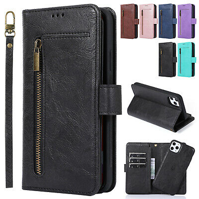 For iPhone 11 Pro Max XS XR 8 7 6s Cover Leather Magnetic Removable Wallet Case