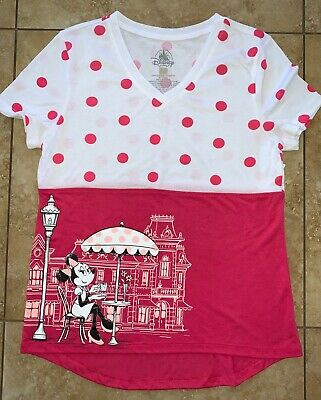 Disney Parks Minnie Mouse Polka Dot Adult Tee For Women X-Small Nwt