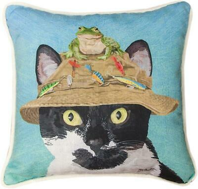 "Cats In Hats ""Cat With Frog"" Pillow"