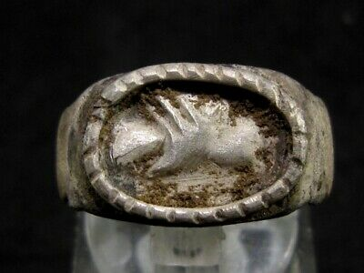 Very Rare, Attractive Roman Silver Clasped Hands Ring, As Found+++