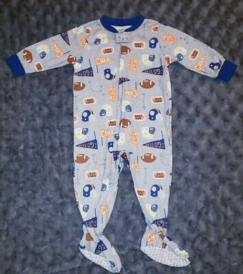 EUC Carters Baby Boy Clothes 12 Months One Piece Football Footie Pajama Sleeper