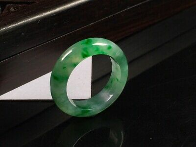 Chinese Icy Full Green Grade A Jadeite Jade Ring Size 7.0