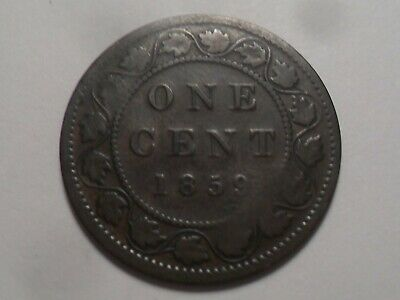 1859 Nice Canada Bronze One Cent Mintage 9,579,000!!!