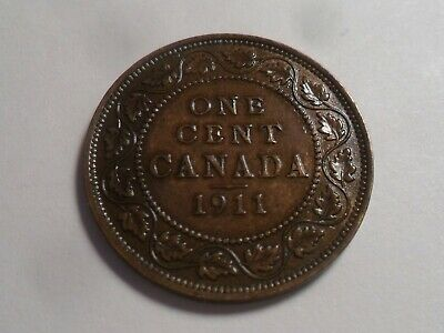1911 Nice Higher Grade Canada Bronze One Cent Low Mintage 4,663,486!!!
