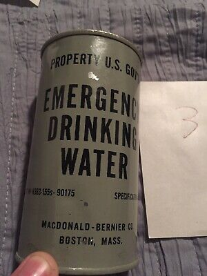 Vintage Full Cold War Era Emergency Canned Drinking Water