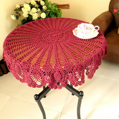 Pink Vintage Hand Crochet Lace Table Cloth Topper Round Tablecloth 35inch Floral