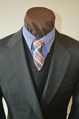 JoS A Bank signature 2btn solid charcoal gray 100% wool suit sz 42R pants 34x31