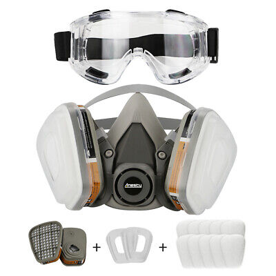 Half Face Respirator Mask & Goggles Chemical Dust Proof Fire Painting Spraying