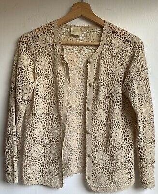 Crochet Vintage Festival/Boho Cardigan/top Size S 10. Cream Retro Long Sleeve