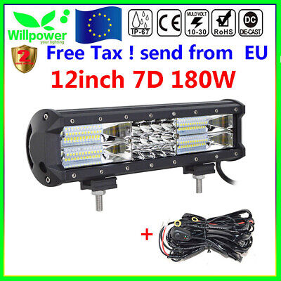 7D 12inch 180W Tri Row Led Work Light Bar Car Off road SUV 4WD +Wiring Harness