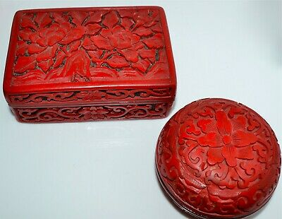 Two Old or Antique Chinese Carved Cinnabar Boxes Round Rectangular Red Black