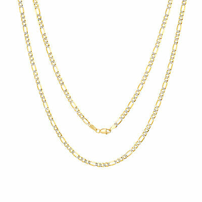 Womens 10K Real Yellow Gold Solid 4mm Diamond Cut Pave Figaro Chain Necklace 18""