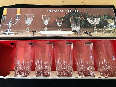 5 VINTAGE CRISTAL d'ARQUES FRANCE 'POMPADOUR' HIGHBALL GLASSES NEW IN BOX