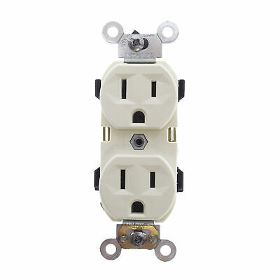 Leviton Br15-A Self Grounding Duplex Receptacle, 15A 125V, 2P, 3W, Almond (10 Pa