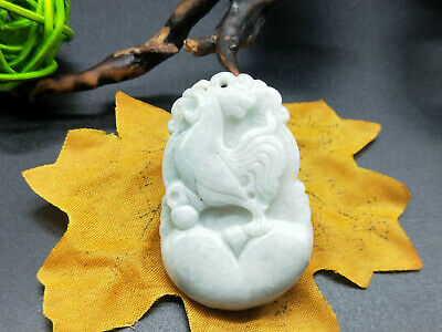 Chinese hand carved delicate natural Burmese jade zodiac Chicken pendant 12-10