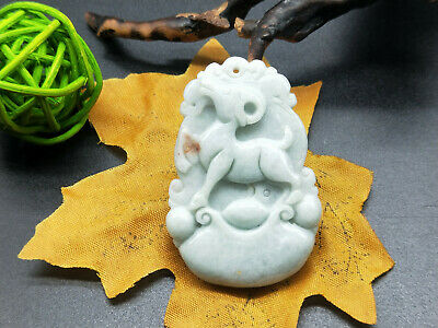 Chinese hand carved delicate natural Burmese jade zodiac sheep pendant 12-8