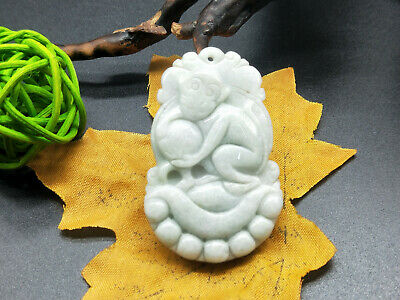 Chinese hand carved delicate natural Burmese jade zodiac monkey pendant 12-9