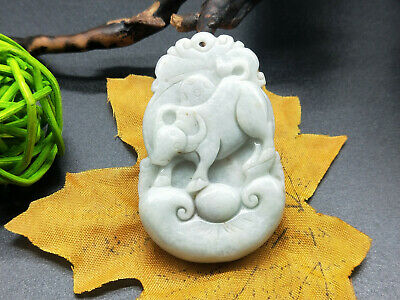 Chinese hand carved delicate natural Burmese jade zodiac Cattle pendant 12-2