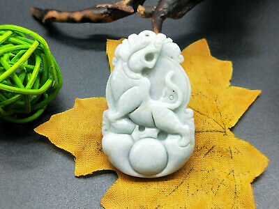 Chinese hand carved delicate natural Burmese jade zodiac tiger pendant 12-3