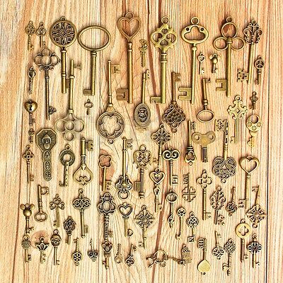 70Pcs Vintage Old Look Bronze DIY Skeleton Keys Heart Bow Pendant For Home &