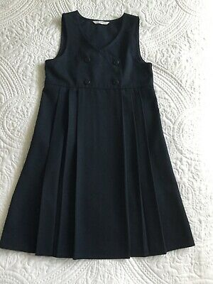 M&S Navy Girls School Pinafores Age 8-9, New