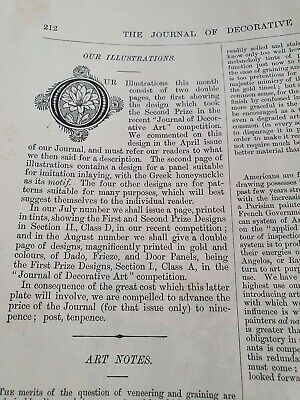 """Rare Old """"The Journal of Decorative Art"""" Vol II 1882 - House Painter,  Decorator"""